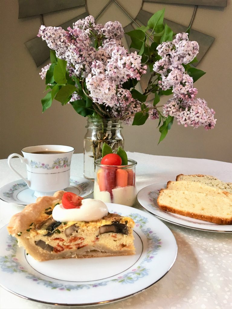 mother's day brunch with lilacs and coffee