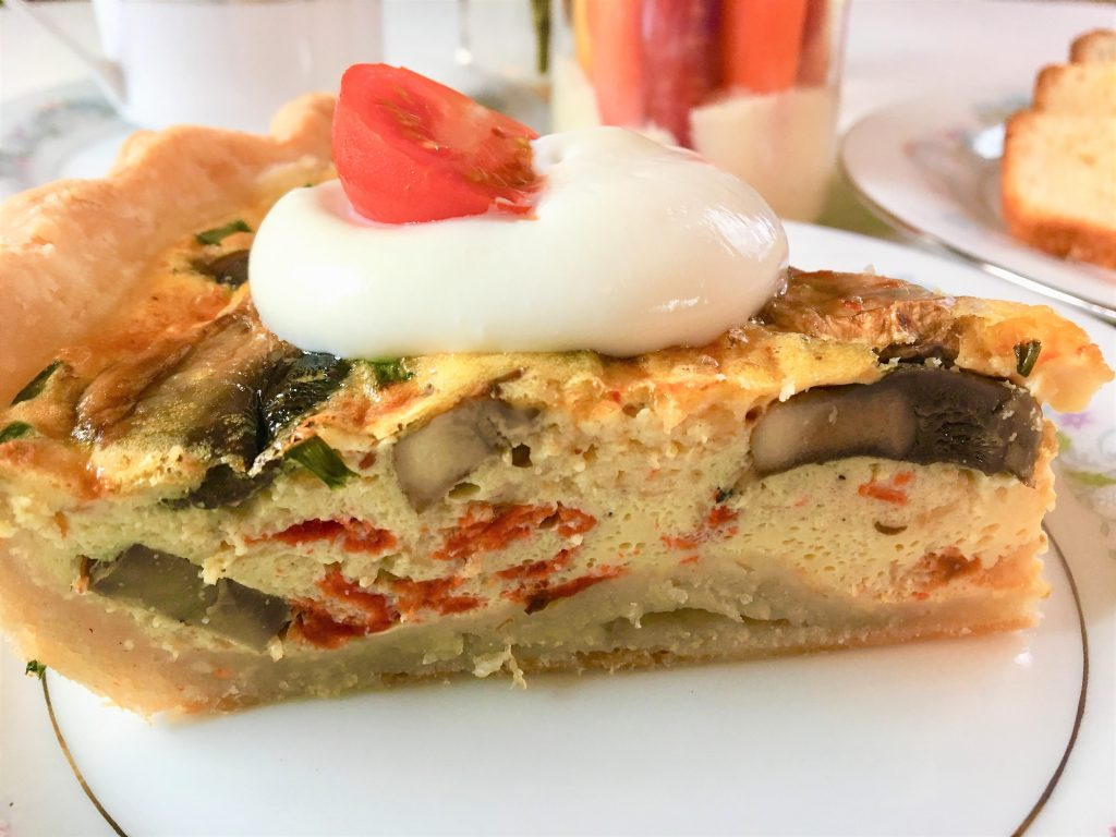 Mother's Day, quiche, quiche recipe, eggs, chives, pie, celebrate, holiday, spring, brunch, spring brunch, Mother's Day Brunch, heirloom carrots, snow peas, ranch dressing, grape tomatoes, lemon bread, poppy seed bread, quick breads, coffee, pretty china, pretty dishes