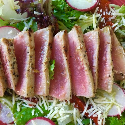 ahi tuna steak salad, fresh greens, summer salad, tuna steak, fiestaware