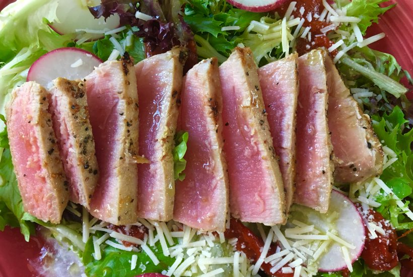 ahi tuna steak salad, fresh greens, summer salad, tuna steak, fiestaware