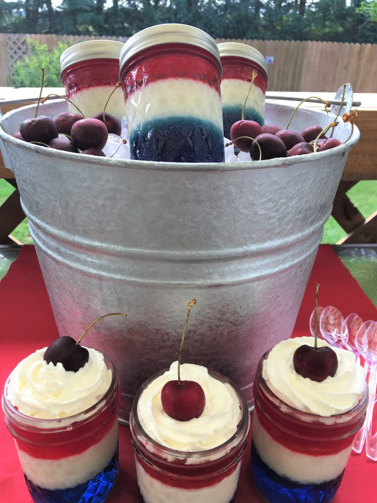 fourth of july, jello, mason jars, dessert, red white and blue, picnic, cookout