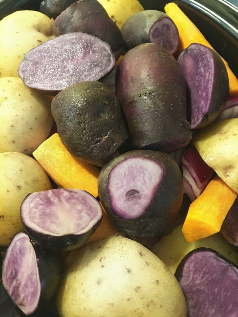 carrots, potatoes, purple potatoes, sweet red onion, artisan bread, onions, golden mushroom soup, crock-pot rump roast, crock-pot, beef, roast, hearty dinner, rump roast, cut of round