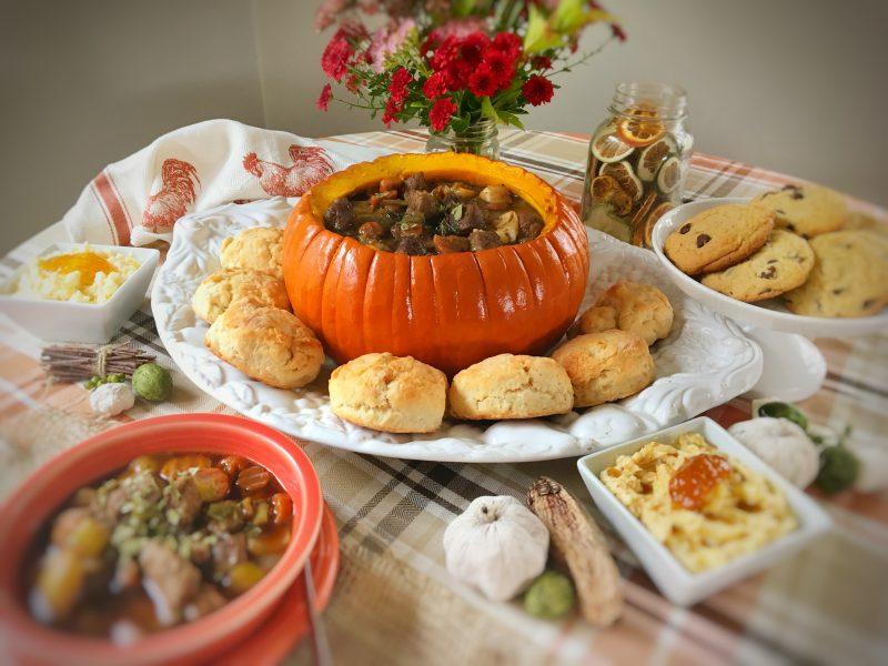 pumpkin beef stew, pumpkin, beef, recipe, free printable, vegetables, fall, herbs, herb infuser, hospitality, stew