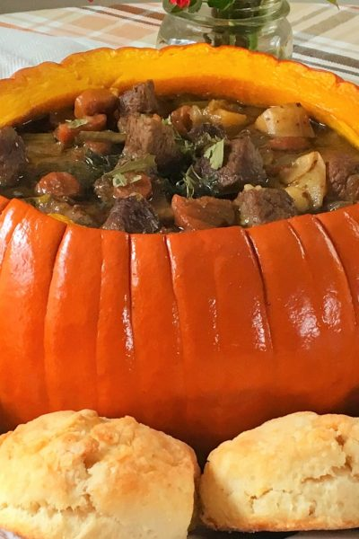 pumpkin beef stew, pumpkin, beef, recipe, free printable, vegetables, fall, herbs, herb infuser, hospitality, stew