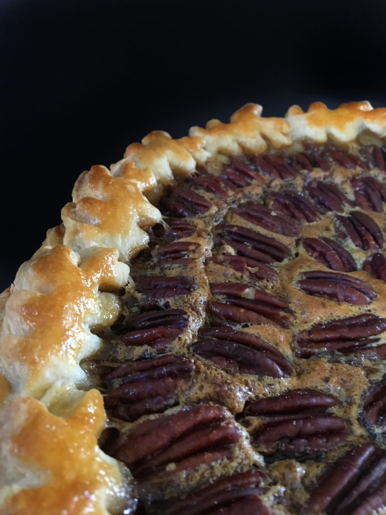 Southern Bourbon Pecan Pie, pecan pie, homemade pie, dessert, holiday dessert, southern cooking, pecans, Fiestaware, bourbon