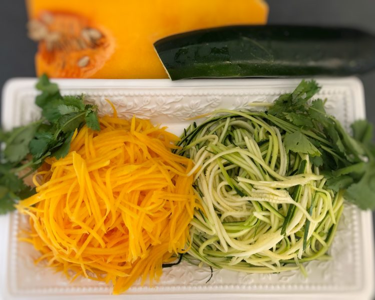 veggie noodles - zucchini noodles - butternut squash noodles - kohlrabi noodles - shrimp - scallops - healthy alternative to pasta