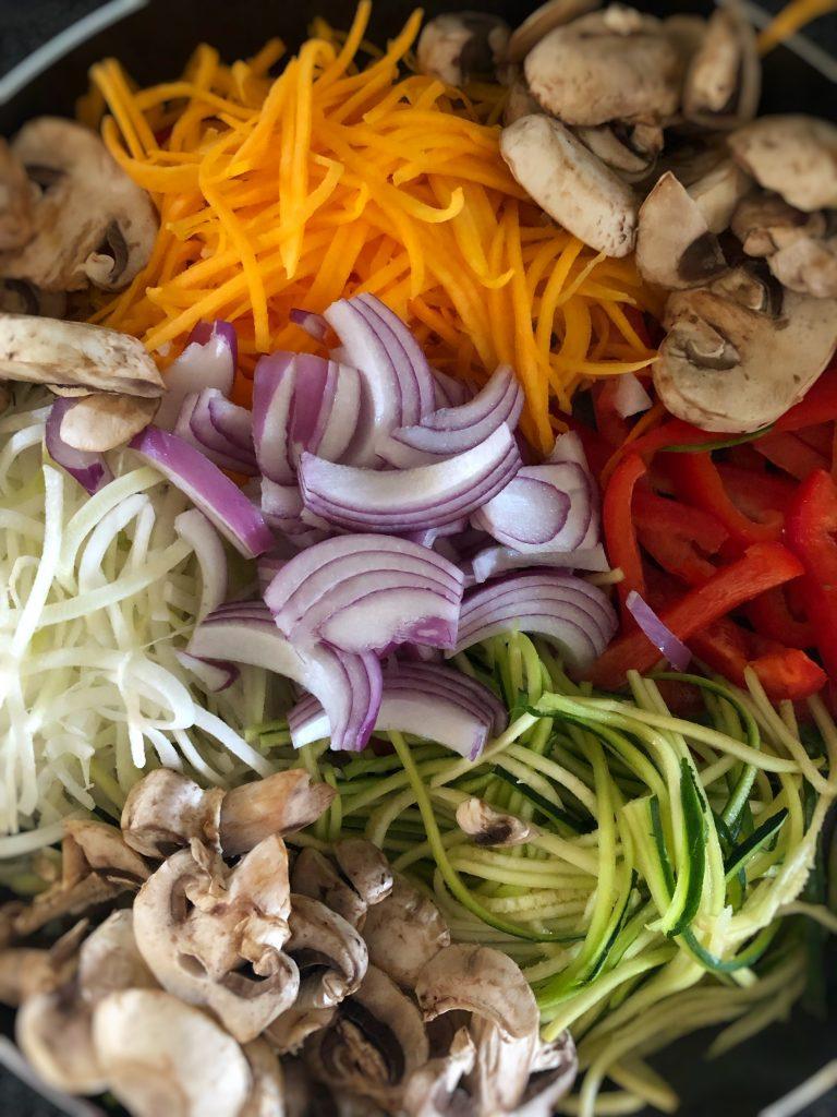 veggie noodles - zucchini noodles - butternut squash noodles - kohlrabi noodles - shrimp - scallops - healthy alternative to pasta