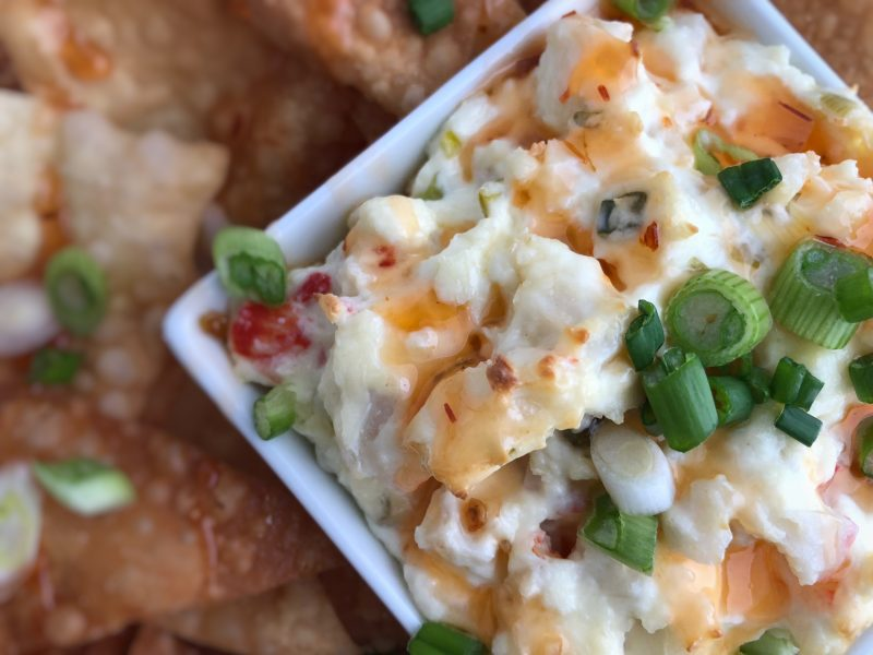 crab rangoon, crab rangoon dip, hot dip recipe, Super Bowl party dip, Super Bowl party recipe, imitation crab meat, cream cheese, green onions, won ton wrappers, sweet chili sauce, deep fry