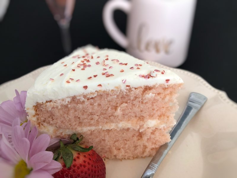 pink champagne, pink champagne cake, white chocolate, white chocolate frosting, champagne, cake, special cake, Valentine's Day, Valentine cake, birthday cake, special occasion cake