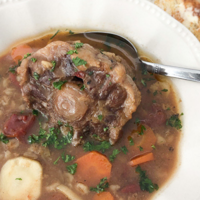 oxtail soup, oxtail, bone broth, barley, fire roasted tomatoes, healthy soup, soup recipe, carrots, parsnips, star anise, allspice, beef broth