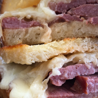 Reuben sandwich, sourdough bread, Thousand Island Dressing, sauerkraut, smoked corned beef, corned beef, Swiss cheese, toaster oven