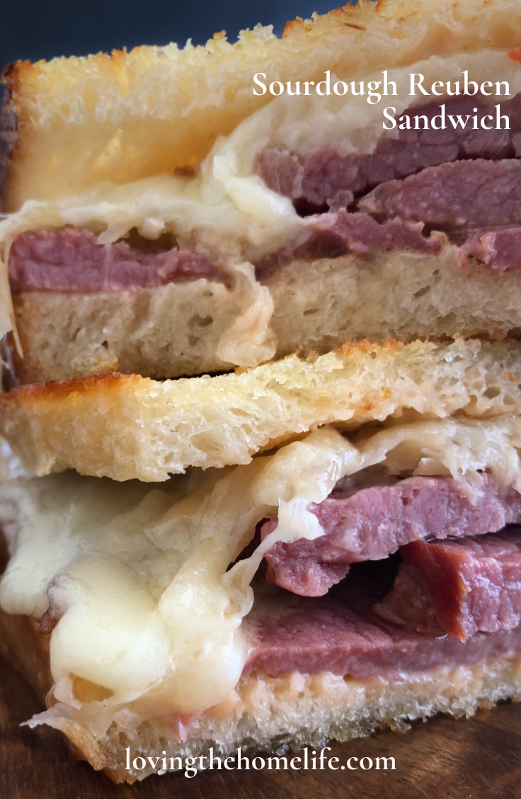 Reuben sandwich, sourdough bread, Thousand Island Dressing, sauerkraut, smoked corned beef, corned beef, Swiss cheese, toaster oven