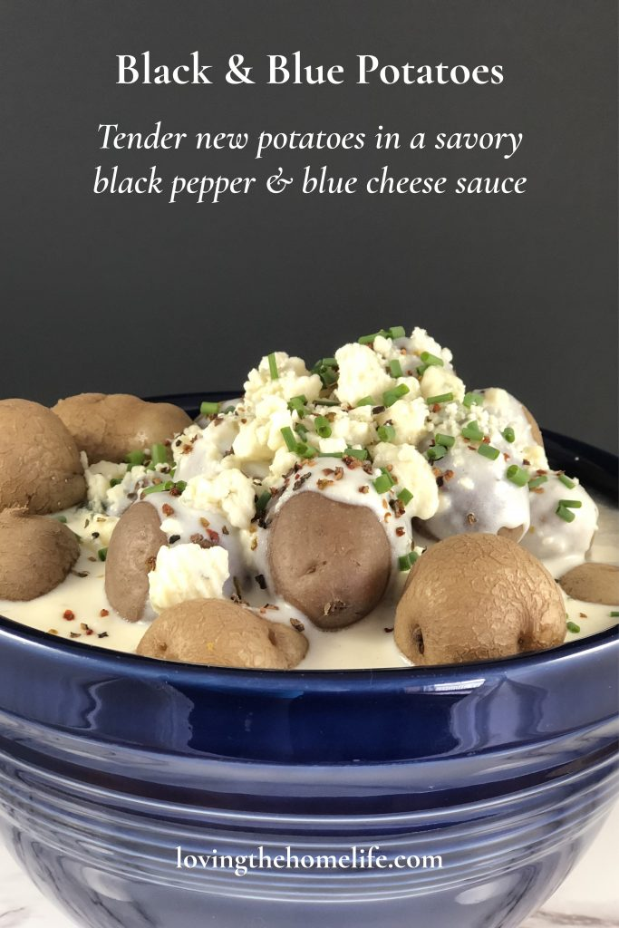 Pin of black and blue potatoes.